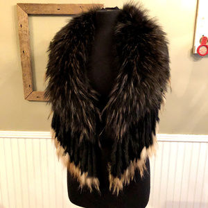 Accessories - Fur Stole Wrap Scarf Black Brown Nice Condition